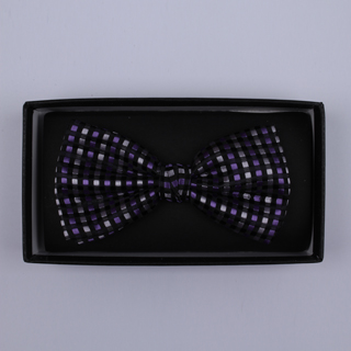 Black/Silver/Purple Squares Bow Tie-0