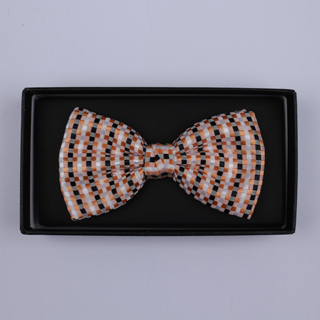 Peach/Black/White Squares Bow Tie