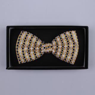 Gold/White/Black Squares Bow Tie-0