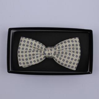Cream/Black Circles Bow Tie