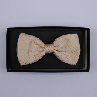 Pale yellow/gold diamonds/dots Bow Tie-0