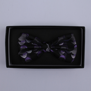 Black/Purple Crescents Bow Tie-0