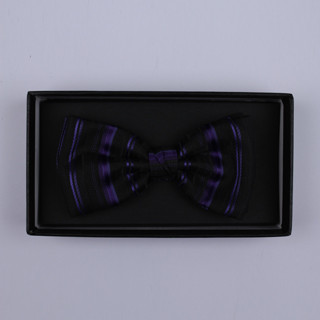 Black/Purple Stripes Bow Tie