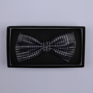 Black/Silver houndstooth Bow Tie