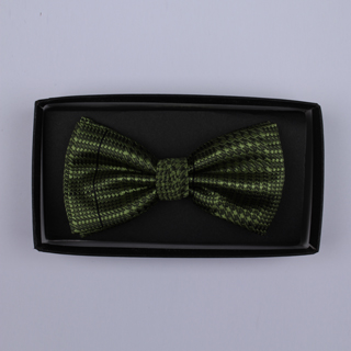 Khaki Green houndstooth Bow Tie