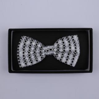 Grey/Black/White Squares Bow Tie-0