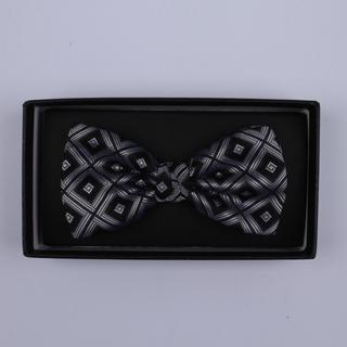 Black/silverSquares Bow Tie-0