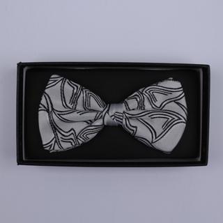 White/Black Pattern Bow Tie-0