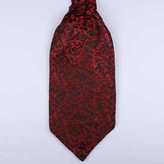 Black/Red Floral Poly Self-Tie Cravat