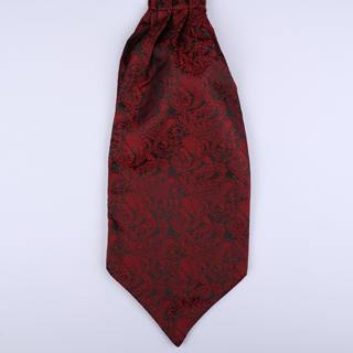 Black/Red Paisley Poly Self-Tie Cravat-0