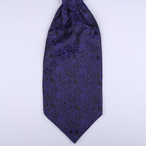 Blue/black Paisley Poly Self-Tie Cravat-0