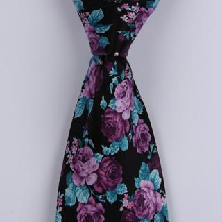 Black/Purple Roses Sorrento Printed Silk Tie-0