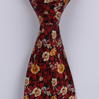 Red/Black Floral Sorrento Printed Silk Tie-0