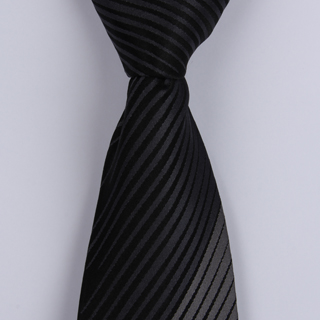 Black/Grey Diagonal Striped Sorrento Printed Silk Tie