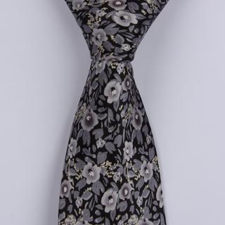 Black/Grey busy Floral Sorrento Printed Silk Tie-0