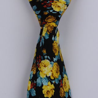 black/Yellow/Blue /Floral Printed Silk Tie-0