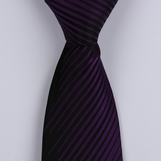 Black/Purple Striped Sorrento Printed Silk Tie-0