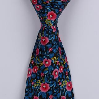 Blue/Pink Floral Sorrento Printed Silk Tie-0