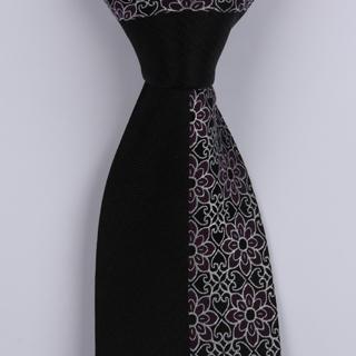 Black/Silver/plum Floral Sorrento Printed Silk Tie-0
