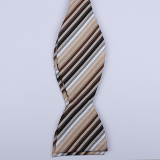 Cream/Brown/Black Striped Self-Tie Bow Ties-0