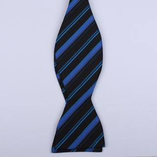 Black/Blue Striped Self-Tie Bow Ties-0