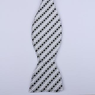 Silver/Black/White Weave Self-Tie Bow Ties-0