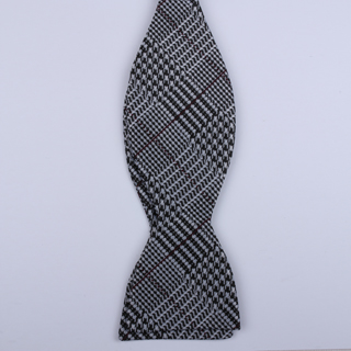 Black/White houndstooth Self-Tie Bow Tie-0