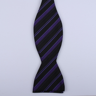 Black/Purple Striped Self-Tie Bow Ties-0