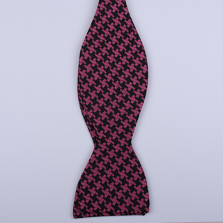 Black/pink Dogtooth Check Self-Tie Bow Ties-0