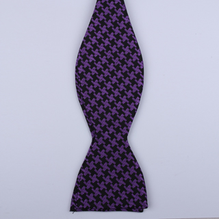 Black/Purple houndstooth Self-Tie Bow Tie-0