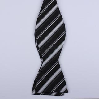 Black/Silver/Grey Striped Self-Tie Bow Ties-0