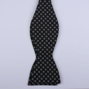 Black/White Circles Self-Tie Bow Tie-0