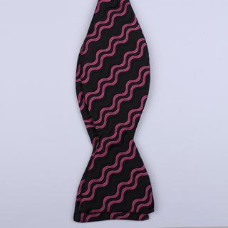 Black/Pink Waves Self-Tie Bow Ties-0