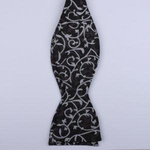 Black/white Floral Self-Tie Bow Tie-0