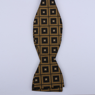 Black/Gold Squared Self-Tie Bow Tie-0