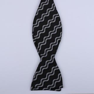 Black/White Waves Self-Tie Bow Ties-0