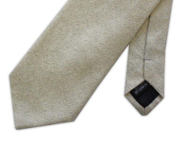 Cream Silk Linen Tie-0