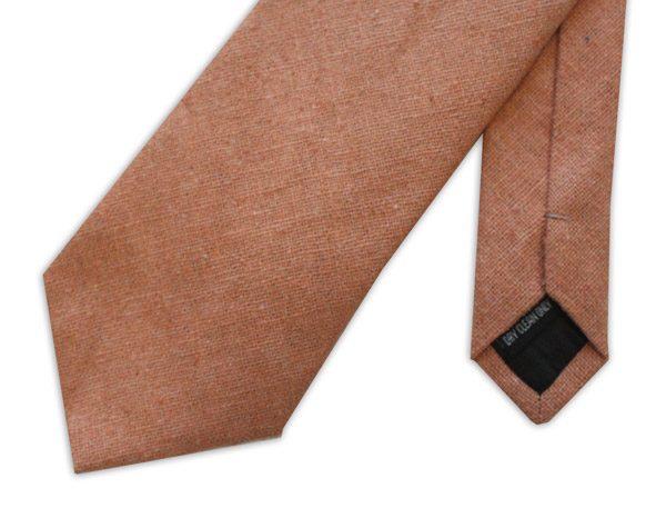 Peach silk Linen Tie-0