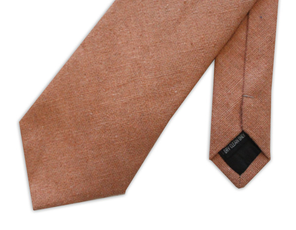 Peach silk Linen Tie