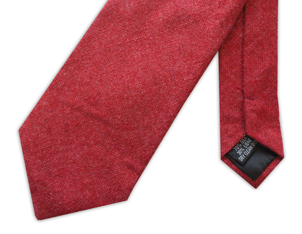 Deep Red Silk Linen Tie-0