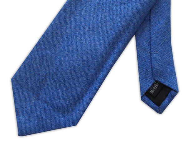 Blue Silk Linen Tie-0