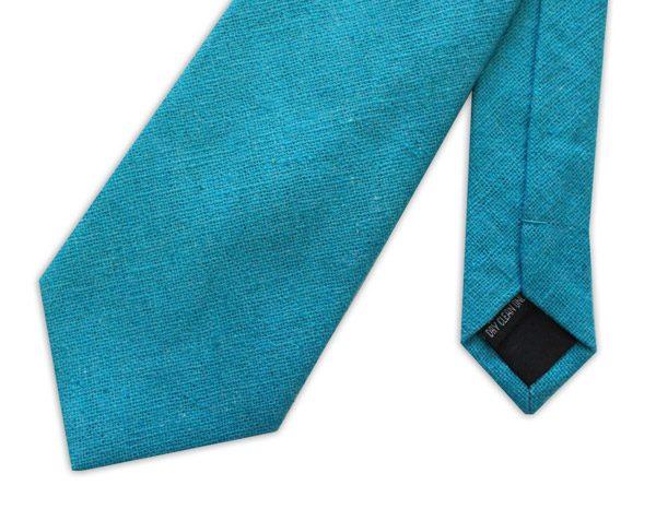 Cyan Blue Linen Tie-0