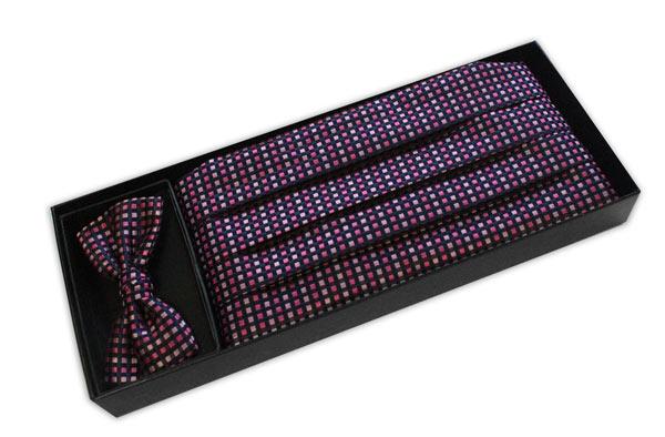 Black/pink grid Cummerbund and Bow Tie