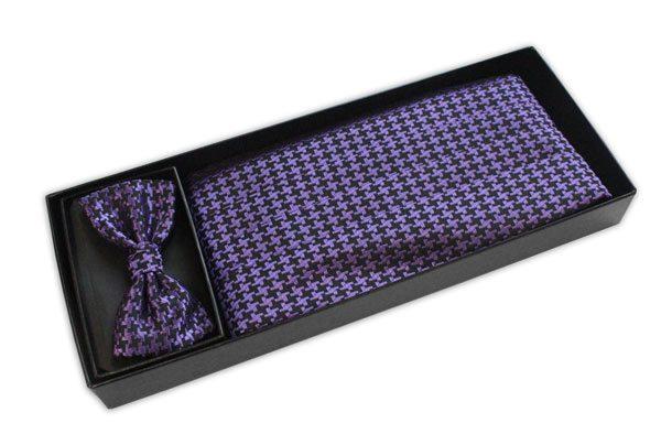 Black/purple houndstooth print Cummerbund and Bow Tie Set-0