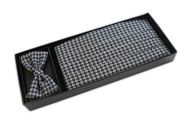 BLACK/SILVER houndstooth PRINT CUMMERBUND AND BOW TIE SET-0