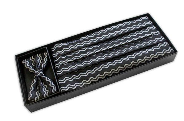 Black/Silver wave Cummerbund and Bow Tie Set