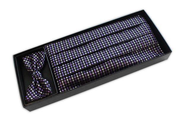 Black/white/lilac Squared Cummerbund / Bow Tie Set-0