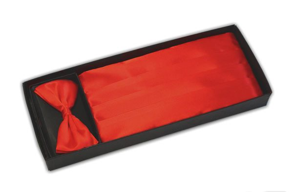 Bright red Cummerbund and Bow Tie Set-0