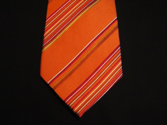 Orange/Red Striped XL Woven Poly Tie