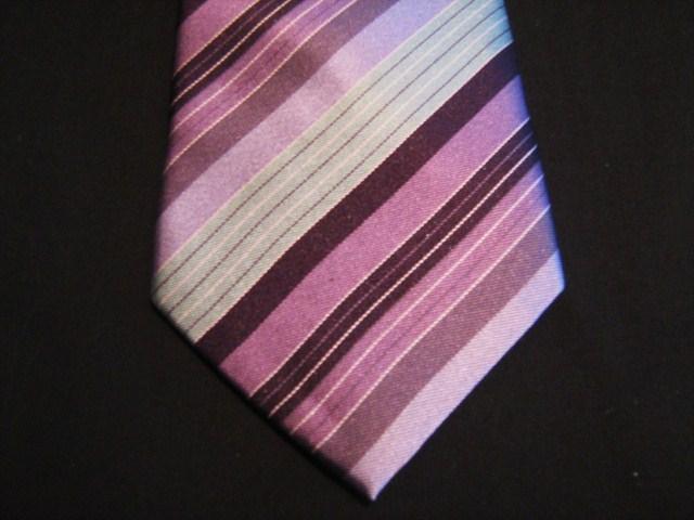 Pink/Purple/White Striped XL Woven Poly Tie
